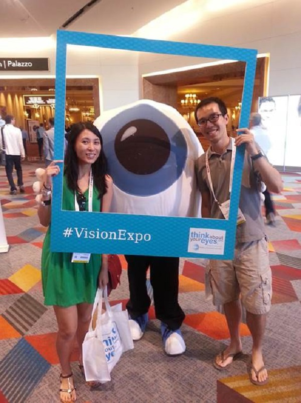 Dr. Lawrence Yu and a colleague at Vision Expo East when he was a fourth-year student at Southern California College of Optometry at Marshall B. Ketchum University.
