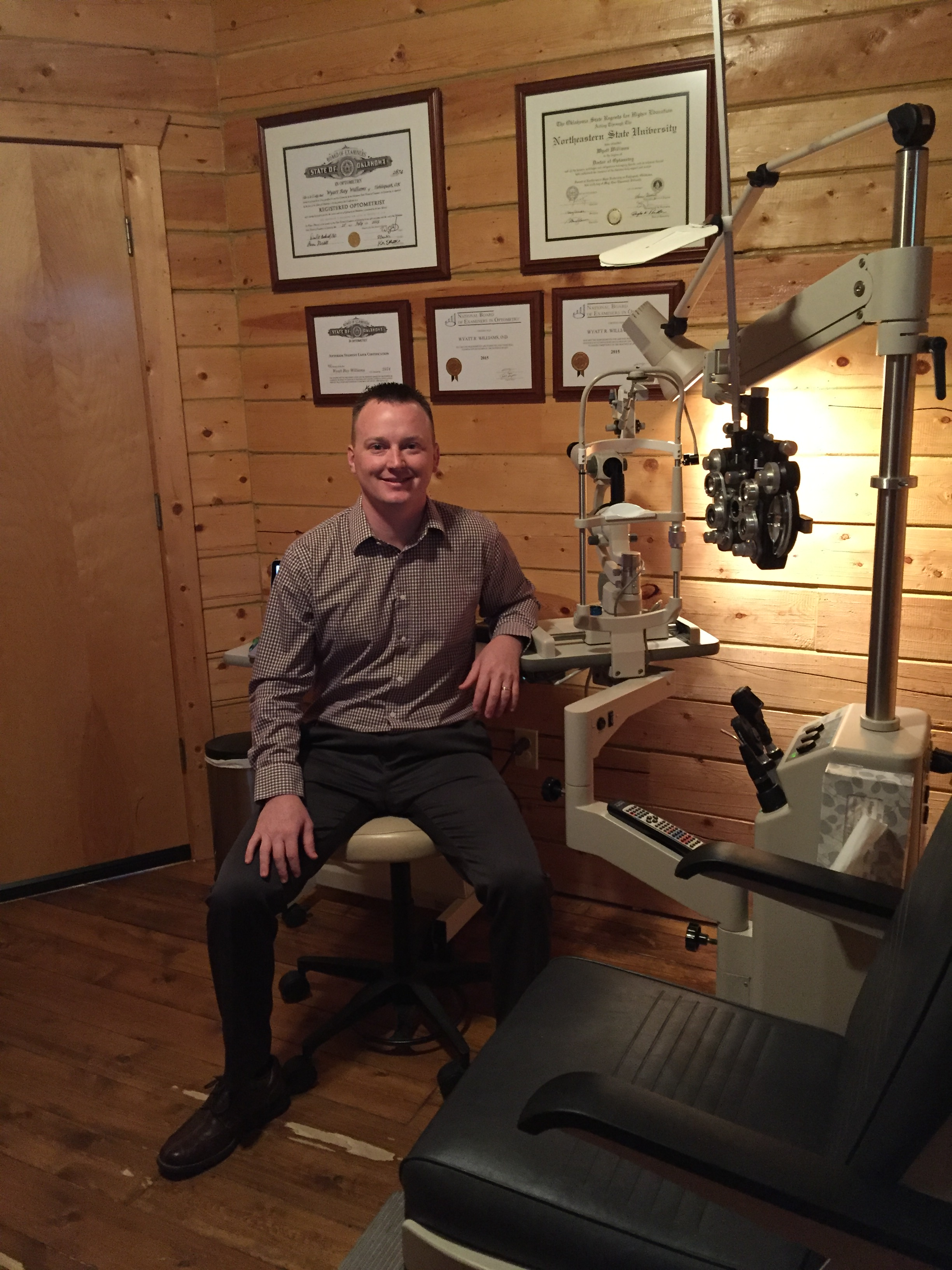 Dr. Wyatt Williams at Keys Eye Care, the practice he launched last year.