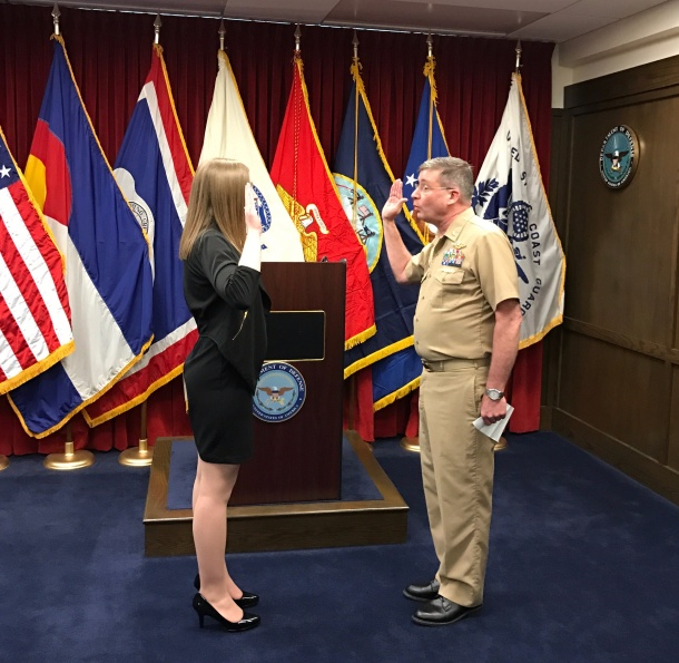 SWEARING IN BY TAKING THE OATH OF OFFICE TO OFFICIALLY BECOME ENSIGN COURTNEY PARK